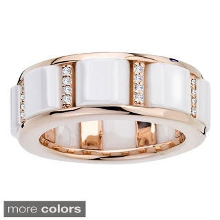 Ceramic 1/6ct TDW Diamond Buckle Ring By Ever One (H-I, I2-I3)