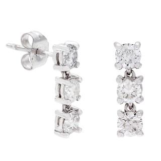 SummerRose 14k White Gold 1ct TDW White Diamond 3-stone Dangle Earrings