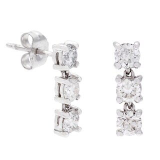 SummerRose 14k White Gold 1ct TDW White Diamond 3-stone Dangle Earrings