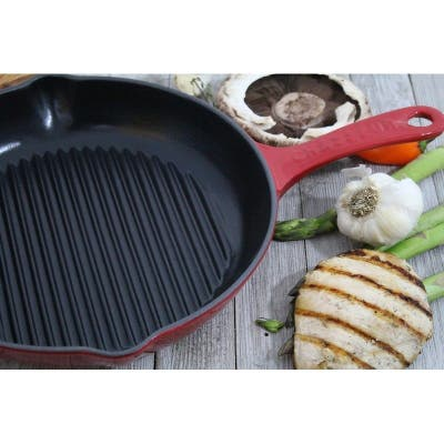 """Chasseur 10-inch Red Round French Enameled Cast Iron Grill Pan - 16""""l x 11""""w x 2.5""""h"""