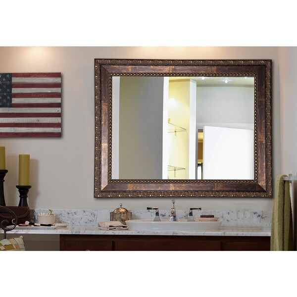 American Made Rayne Traditional Roman Copper Bronze Wall  Vanity Mirror    Free Shipping Today   Overstock com   16191609. American Made Rayne Traditional Roman Copper Bronze Wall  Vanity