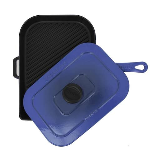 Chasseur 10-inch Blue French Enameled Cast Iron Panini Press
