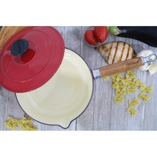 Chasseur 2.5-quart Red French Enameled Cast Iron Saucepan With Lid and Wooden Handle
