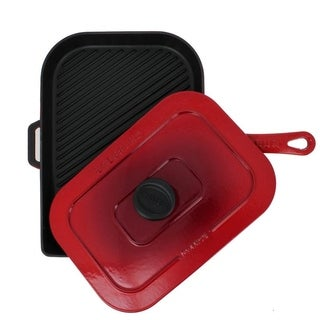Chasseur 10-inch Red French Enameled Cast Iron Panini Press