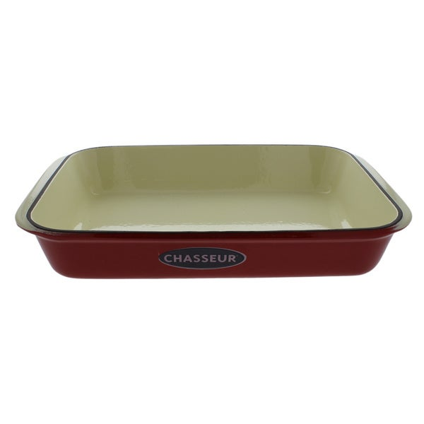 "Chasseur 13"" x 8"" Red French Enameled Cast Iron Rectangular Roaster. Opens flyout."