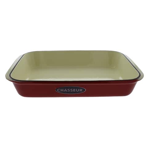 """Chasseur 13"""" x 8"""" Red French Enameled Cast Iron Rectangular Roaster"""