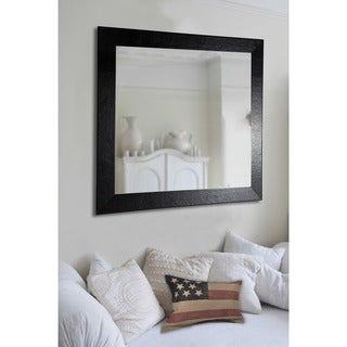 American Made Rayne Black Leather Vanity Wall Mirror
