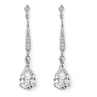 8.39 TCW Pear Cut Cubic Zirconia Silvertone Drop Earrings Glam CZ