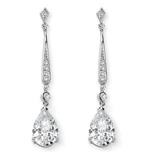 8 39 Tcw Pear Cut Cubic Zirconia Silvertone Drop Earrings Glam Cz