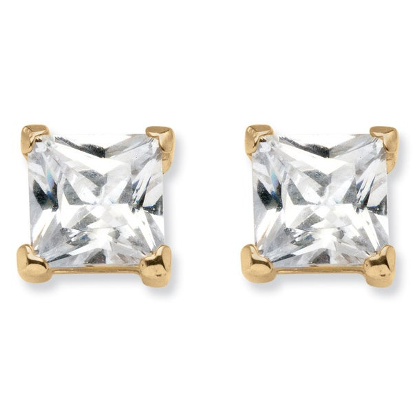 94afb912a 4.24 TCW Princess-Cut Cubic Zirconia Stud Earrings in 18k Gold over Sterling  Silver Classi