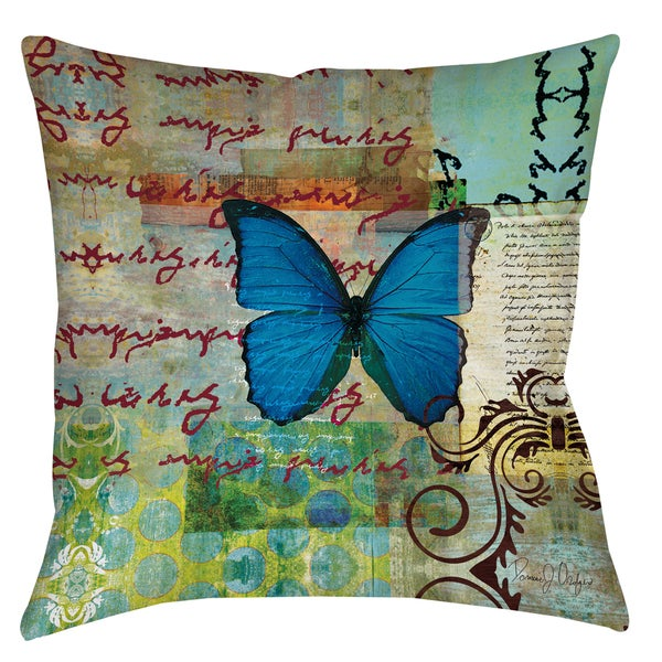 Manual Woodworkers Homespun Butterfly 19-inch Throw Pillow