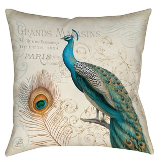 Majestic Beauty II Grands Magasins Peacock 19-inch Throw Pillow