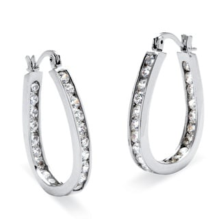 PalmBeach 2.52 TCW Round Cubic Zirconia Silvertone Inside-Out Channel-Set Hoop Earrings Classic CZ