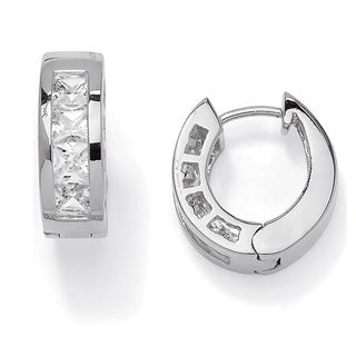 2.96 TCW Princess-Cut Cubic Zirconia Silvertone Channel-Set Hoop Earrings Classic CZ