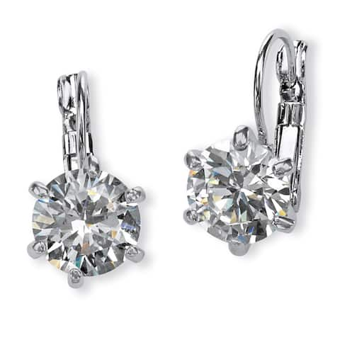 Platinum-Plated Drop Earrings (12x10mm) Round Cubic Zirconia (8 cttw TDW)