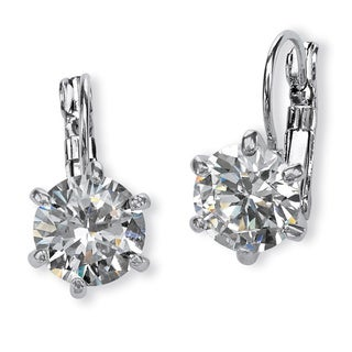 PalmBeach 8 TCW Round Cubic Zirconia Drop Earrings in Platinum-Plated Glam CZ