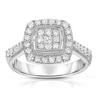 Eloquence 10k White Gold 3/4ct TDW Diamond Halo Ring (H-I, I1-I2)