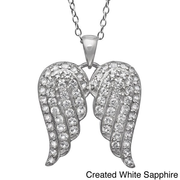 Gioelli Sterling Silver Gemstone Angel Wings Pave Pendant Necklace
