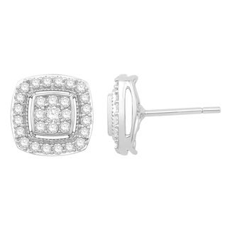 Eloquence 10k White Gold 3/4ct TDW Diamond Composite Stud Earrings