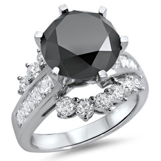 Noori 14k White Gold 4 1/2ct TDW Black Diamond Engagement Ring