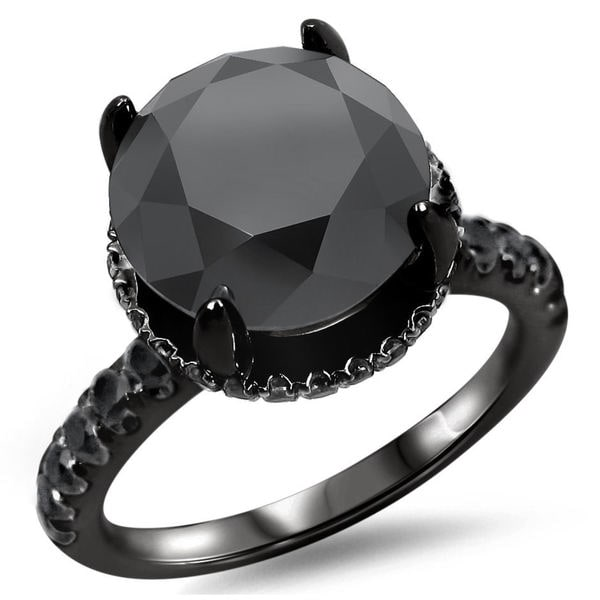 Noori 18k Black Gold 3 3/5ct TDW Round Black Diamond Halo Engagement Ring