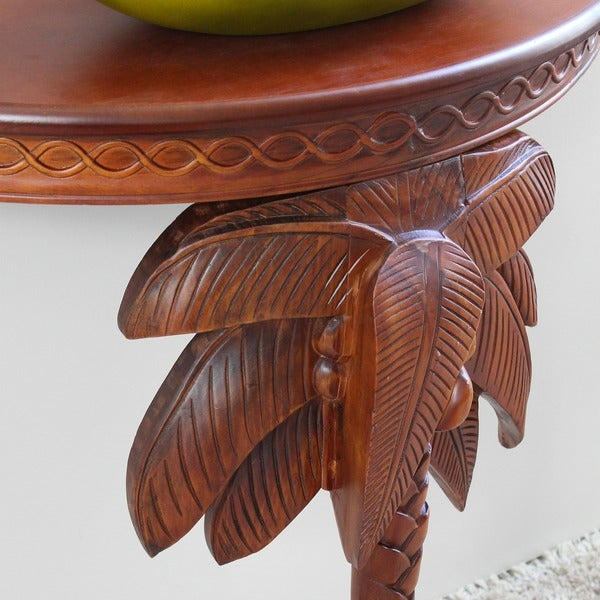 International Caravan Windsor Collection Carved Hardwood Exotic Palm Tree  Wall Table   Free Shipping Today   Overstock.com   16193288