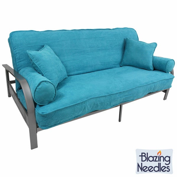 Shop Blazing Needles Full Size 40inch Futon Set With Microsuede Best Futon Cover Set With Pillows