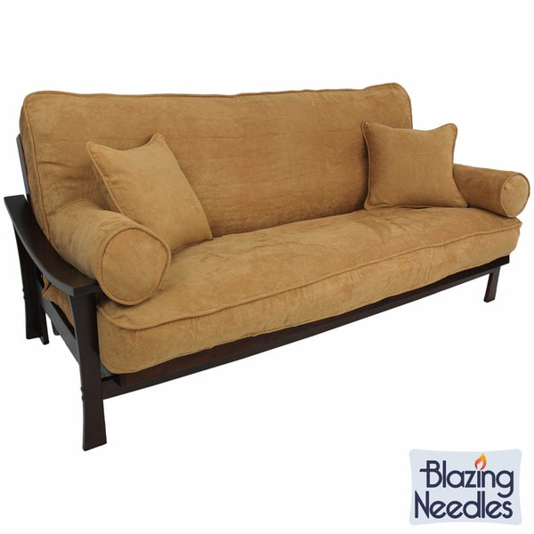 blazing needles full size 9 inch futon set with microsuede