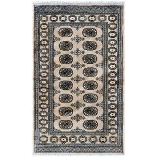 Herat Oriental Pakistani Hand-knotted Bokhara Beige/ Ivory Wool Rug (3'1 x 5')