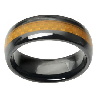 Vance Co. Men's Ceramic Carbon Fiber Inlay Band (3 options available)