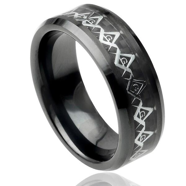 Mens 8mm Beveled Edge Black Ceramic Ring w// Stainless Steel Masonic Symbol over Black Carbon Fiber Inlay Center Comfort Fit Wedding Band