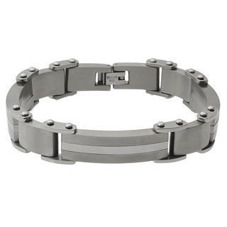 Vance Co. Men's Titanium Matte Finish Link Bracelet