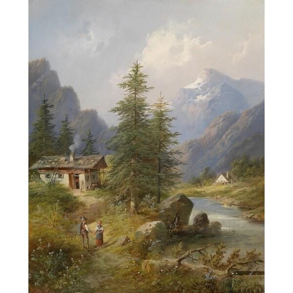 Eduard Boehm 'Scene From Styria' Oil on Canvas Art - Multi