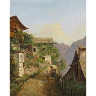 Carl Franz Michael Geyling 'Game of Hallstatt' Oil on Canvas Art