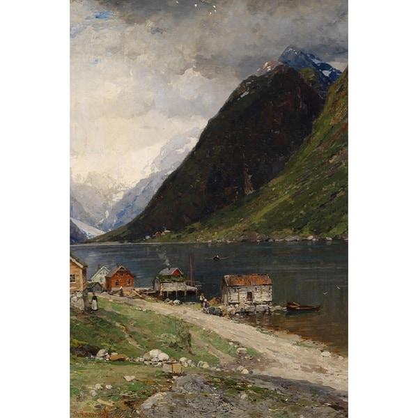 Georg Anton Rasmussen 'Remote Country' Oil on Canvas Art - Multi