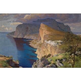 Paul von Spaun 'Idealized View of the Villa Jovis on Capri' Oil on Canvas Art