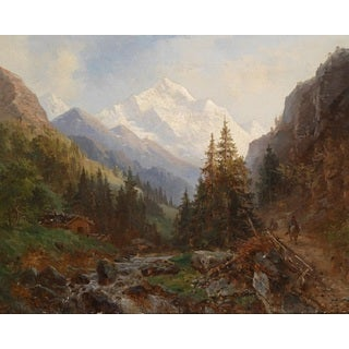 Hermann Tunica 'Mountain Landscape with Stream' Oil on Canvas Art - Multi
