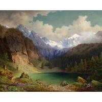Karl Millner 'Alpine Lake' Oil on Canvas Art - Multi