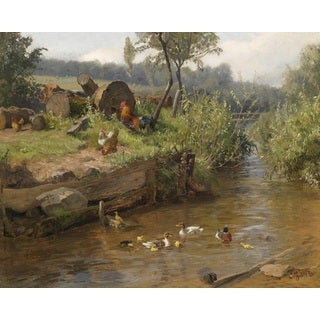 Carl Jutz the Elder 'Family of Ducks on the Weir' Oil on Canvas Art