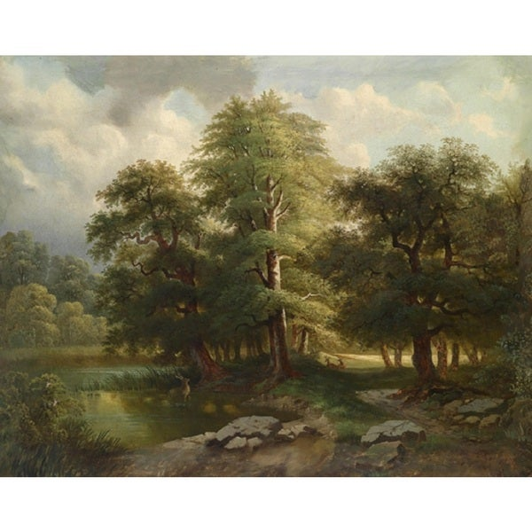 Deer by the Creek' Oil on Canvas Art - Multi