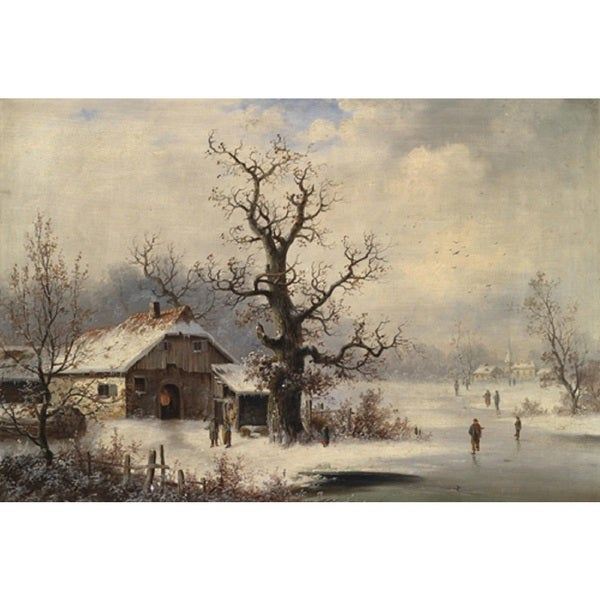 Village in Snow' Oil on Canvas Art - Multi