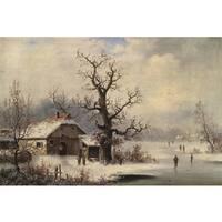 Village in Snow' Oil on Canvas Art - Multi