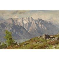 Sunrise in the Mountain' Oil on Canvas Art - Multi