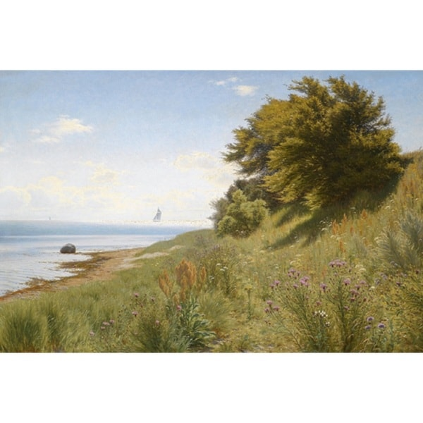 Ludvig Kabell 'Summer Day by the Sea' Oil on Canvas Art