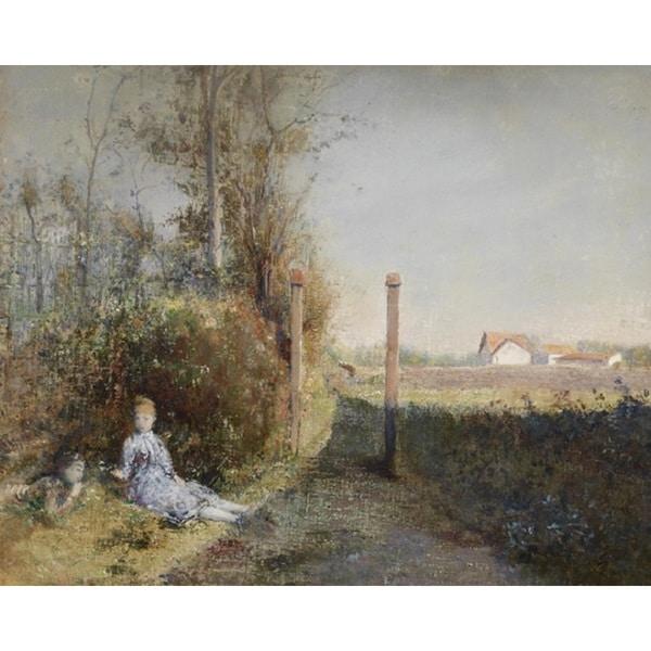 Franz Russ Jr. 'In The Garden' Oil on Canvas Art
