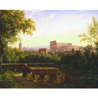 Antoine-Felix Boisselier 'View of the Colosseum from the Orsi Farnesiani' Oil on Canvas Art