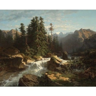 Alexandre Calame 'Torrent in the Alps' Oil on Canvas Art
