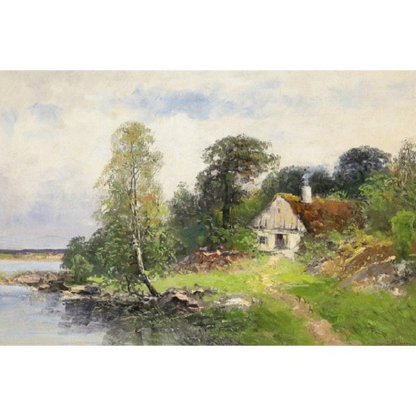 House by the Lake' Oil on Canvas Art