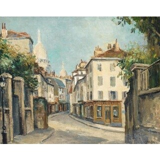 A Street in Paris' Oil on Canvas Art - Multi