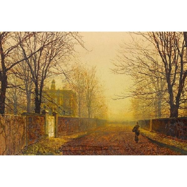 John Atkinson Grimshaw Falling Leaves In Golden Autumn